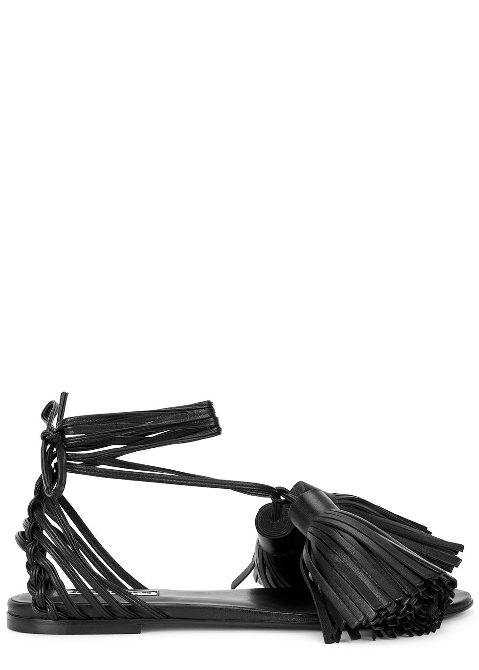 Black tasselled leather sandals