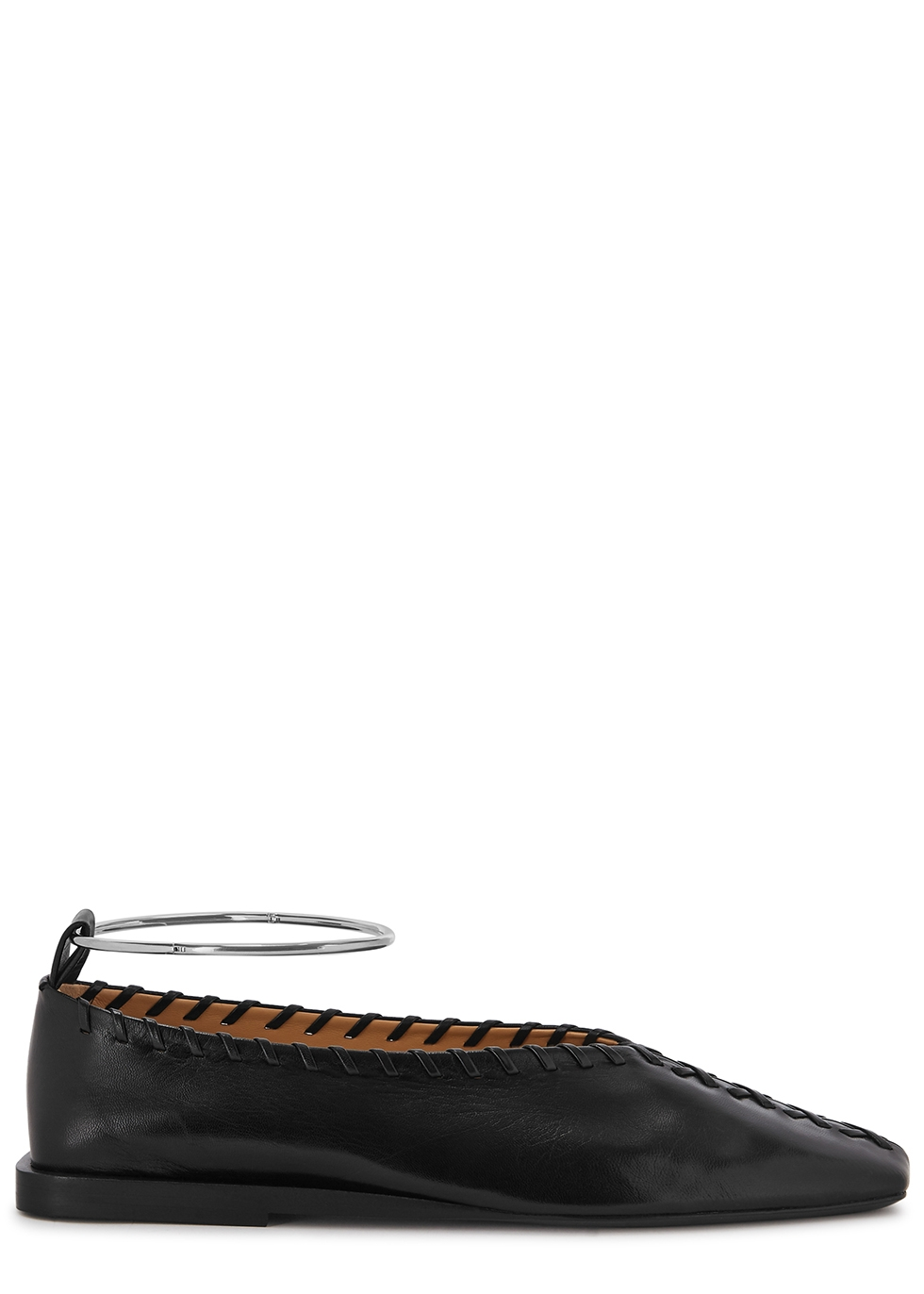 Black whipstitched leather flats