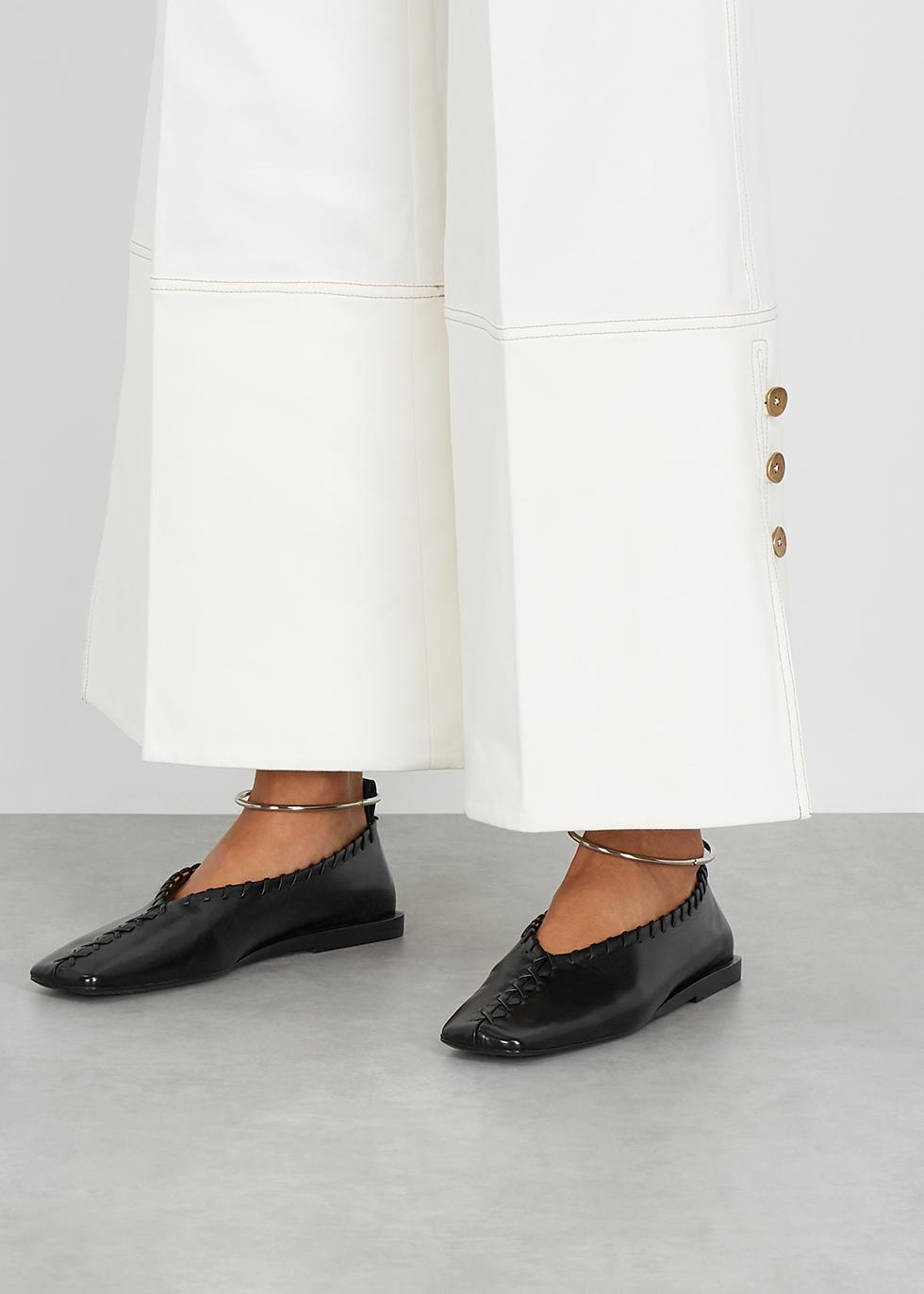 Jil Sander Black whipstitched leather