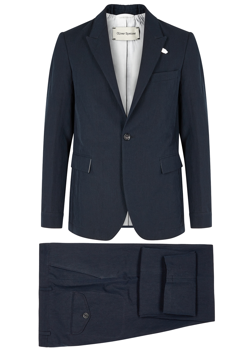 Navy cotton-blend suit