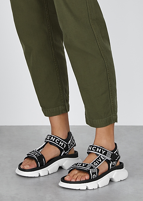 Givenchy Jaw monochrome logo canvas sandals - Harvey Nichols