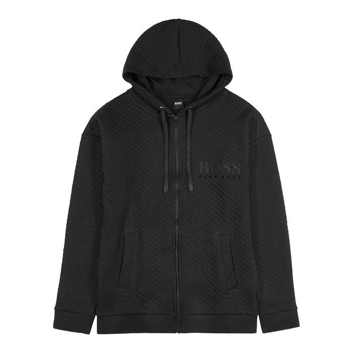 BOSS Black Quilted Cotton Sweatshirt