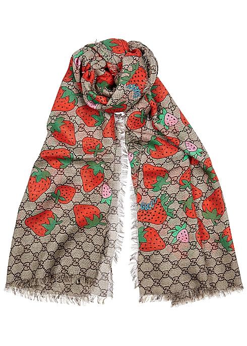 1a7b1999a Gucci GG strawberry-print scarf - Harvey Nichols