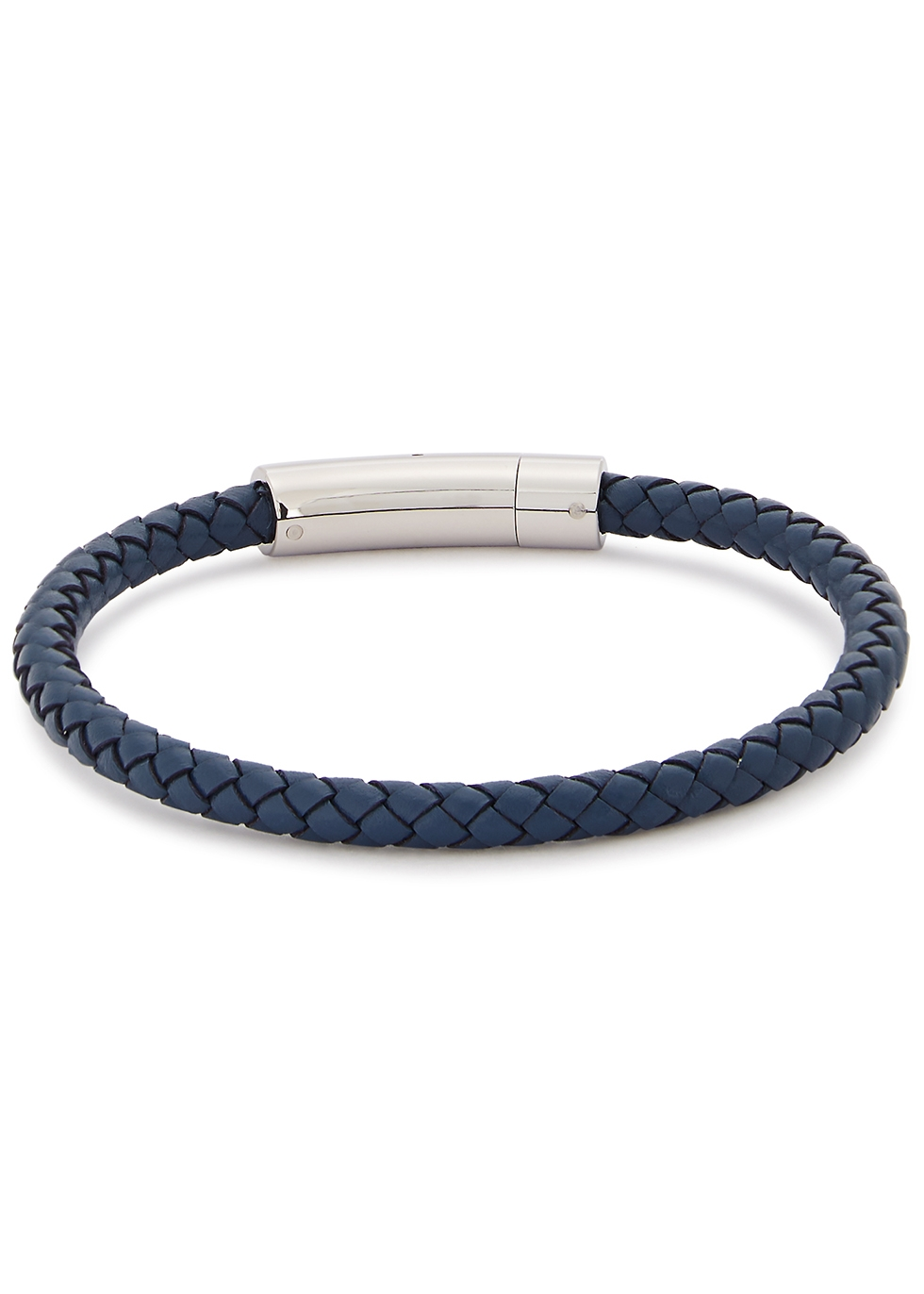 Blue woven leather bracelet