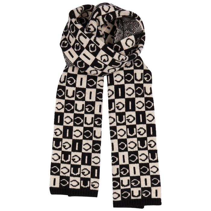 Gucci Checked Logo Wool Scarf