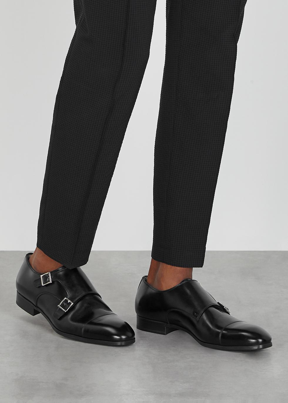 Santoni Black leather monk-strap shoes