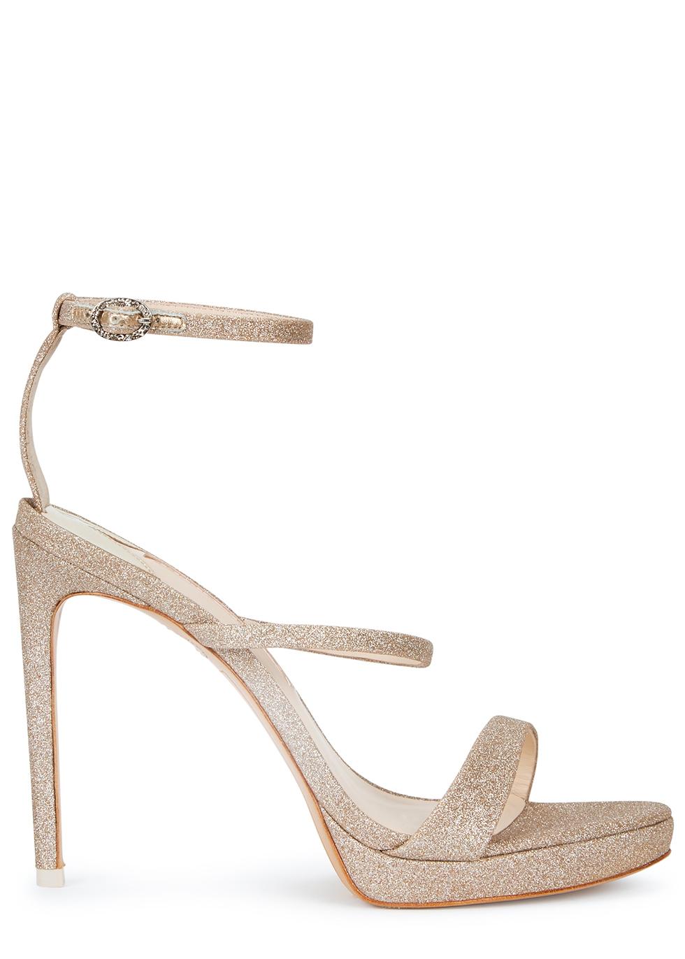 Rosalind 100 gold glittered leather sandals