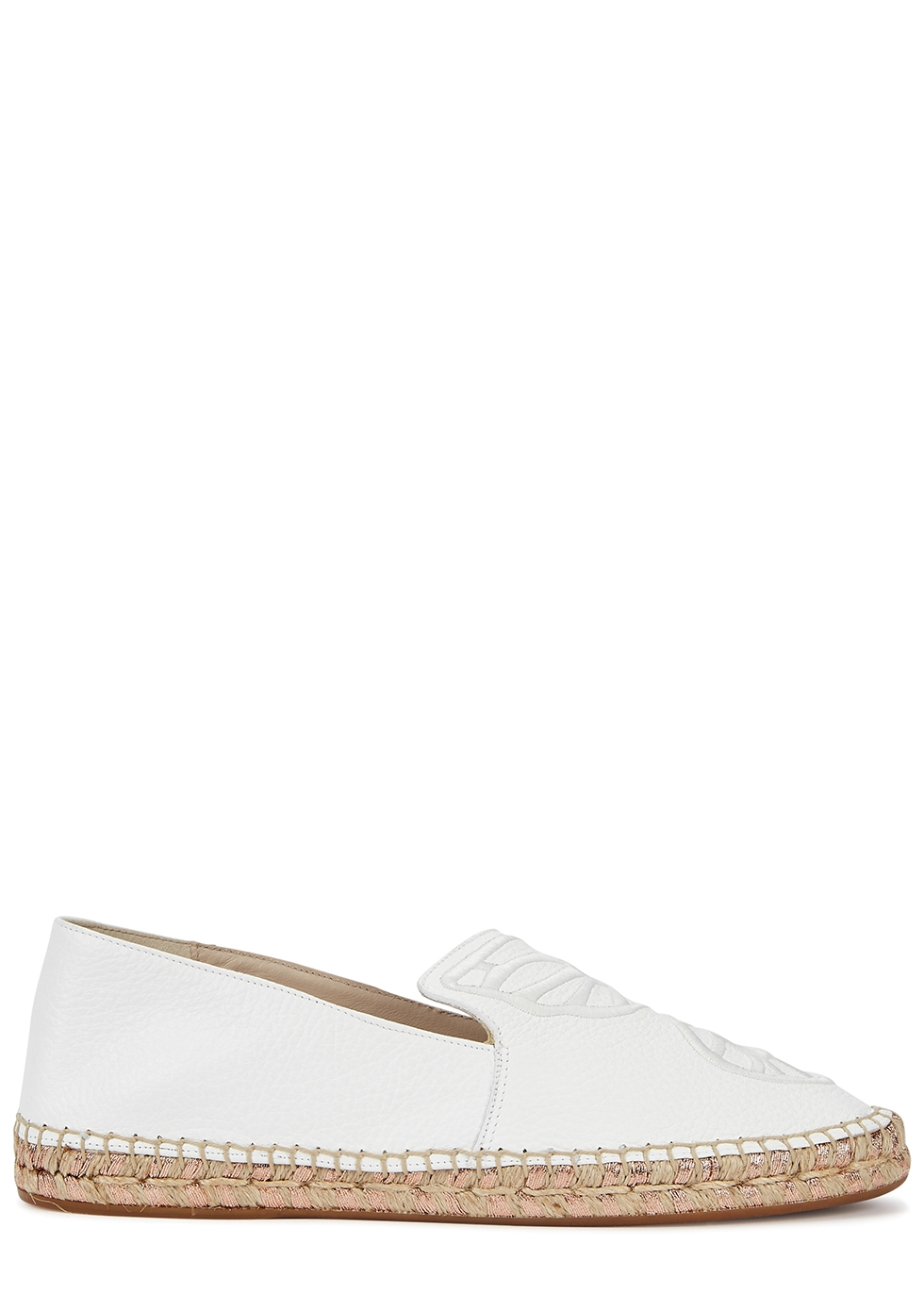 Butterfly white leather espadrilles