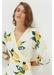 White lemon print silk wrap dress - Chinti & Parker