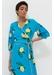 Blue lemon print silk wrap dress - Chinti & Parker