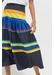 Navy sunset stripe cotton-silk midi skirt - Chinti & Parker