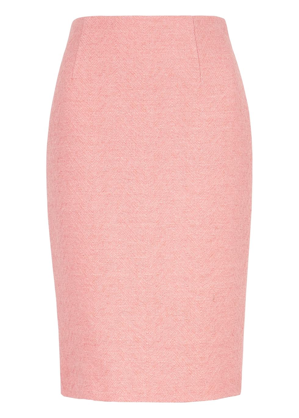 Light pink bouclé-knit skirt