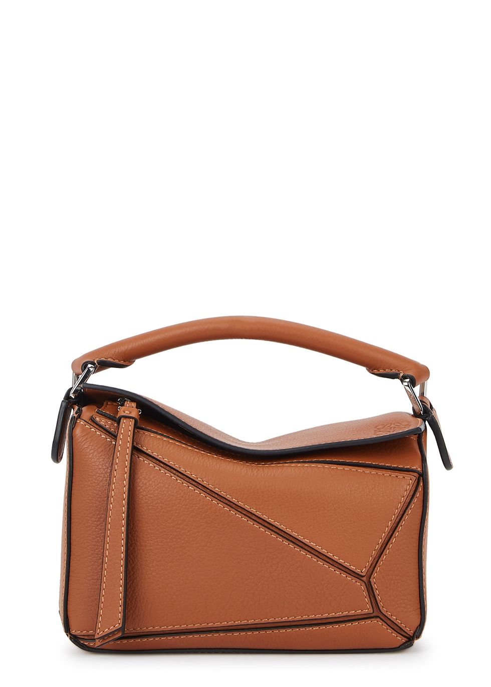 Puzzle mini brown leather cross-body bag