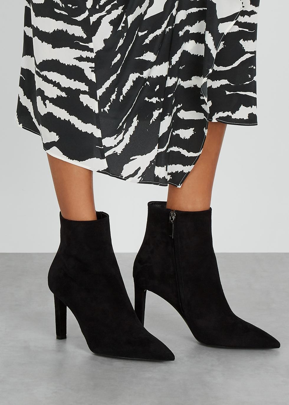 Saint Laurent Kate 85 black suede ankle