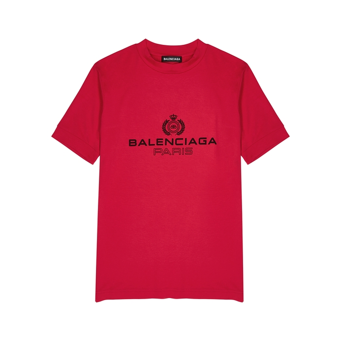 Balenciaga Red Logo-print Stretch-jersey T-shirt