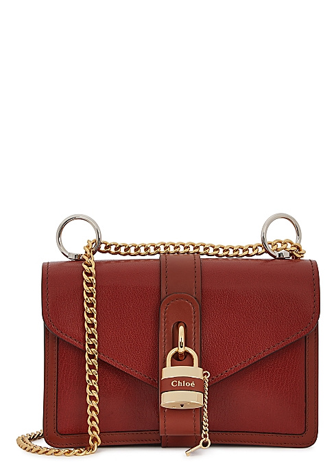 193c22f1daf9 Aby brown grained leather shoulder bag
