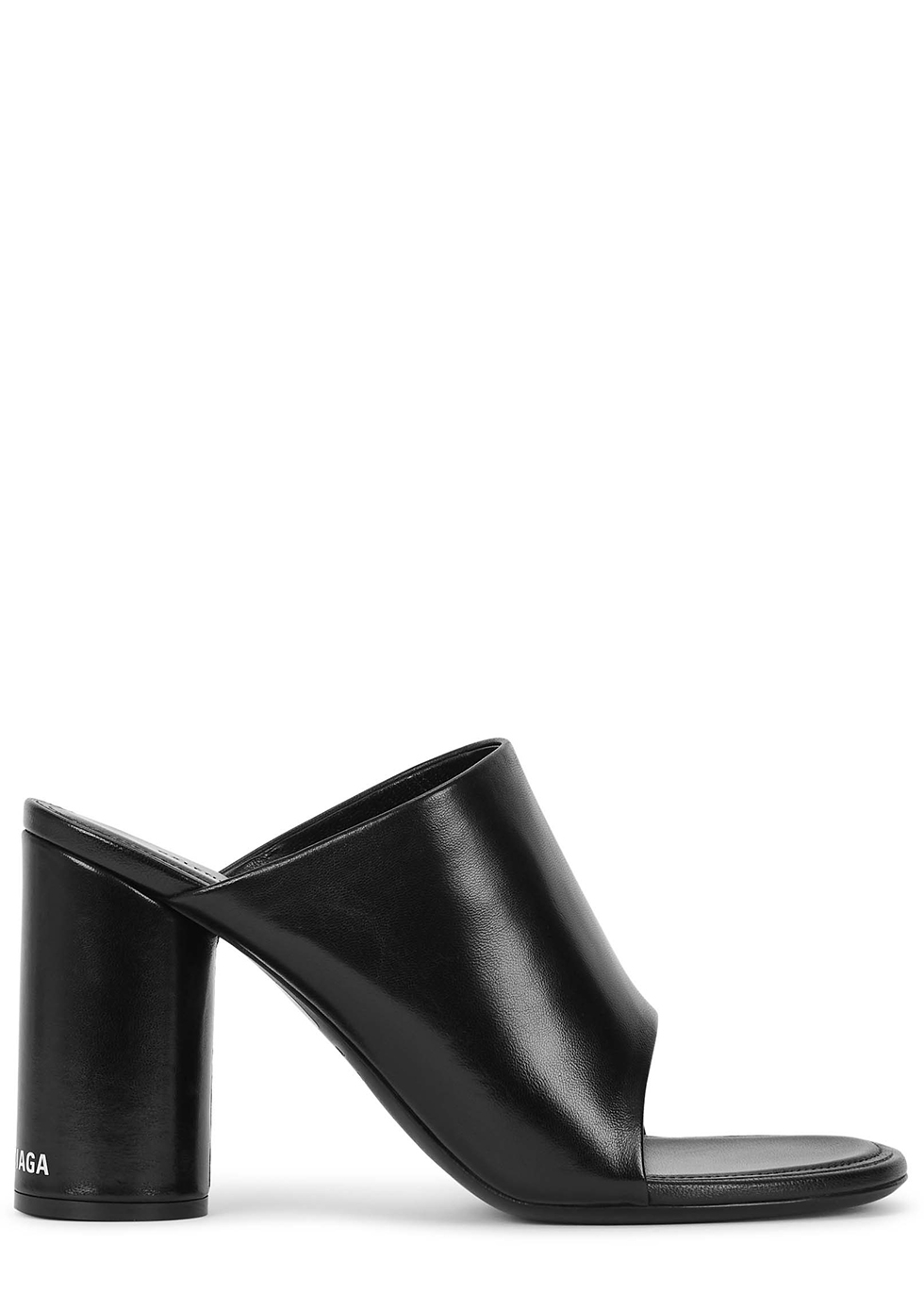 Oval 90 black leather mules