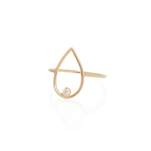 ZoË Chicco 14Ct Yellow Gold And Diamond Pear Open Ring