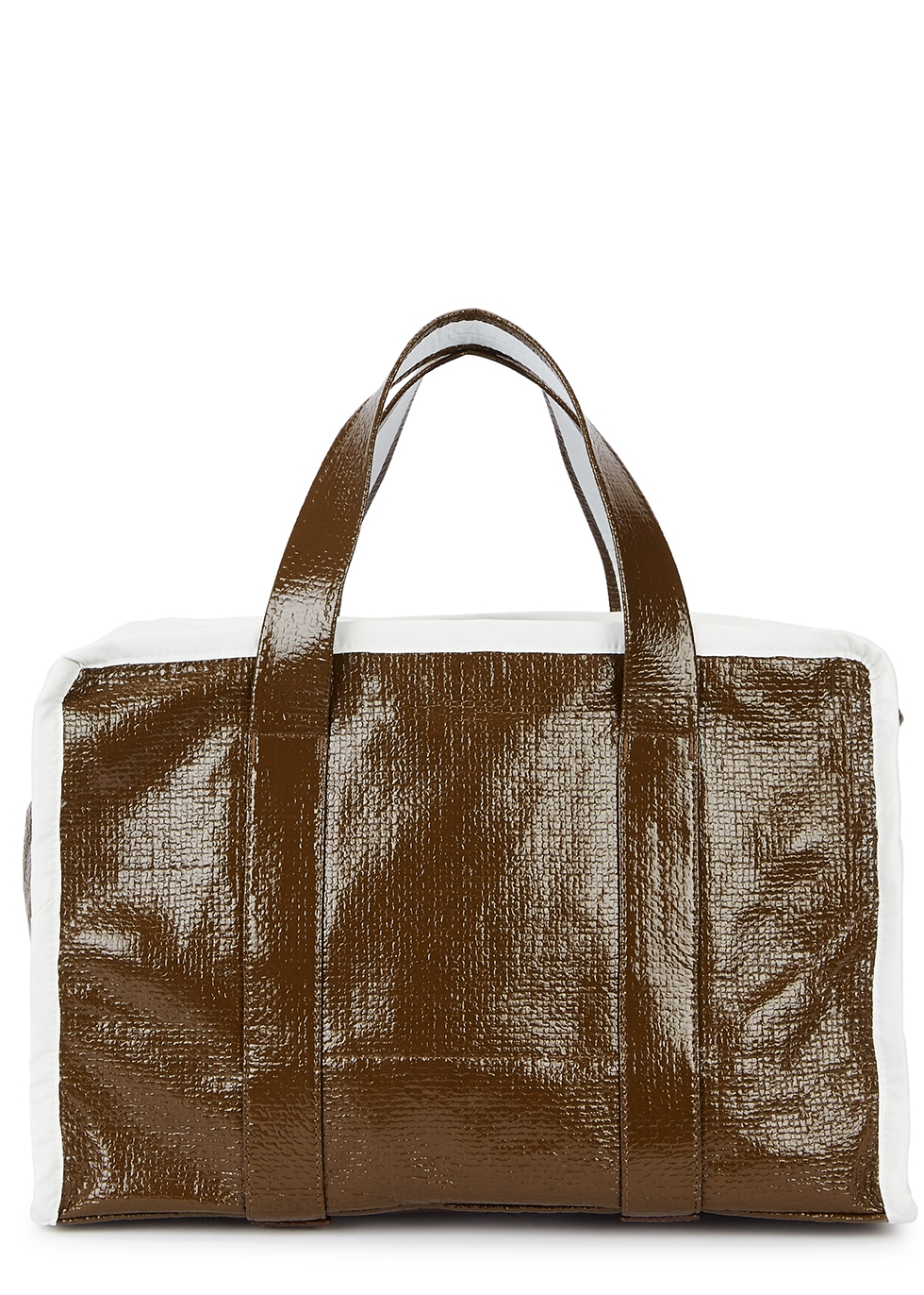 Small brown textured coated tote