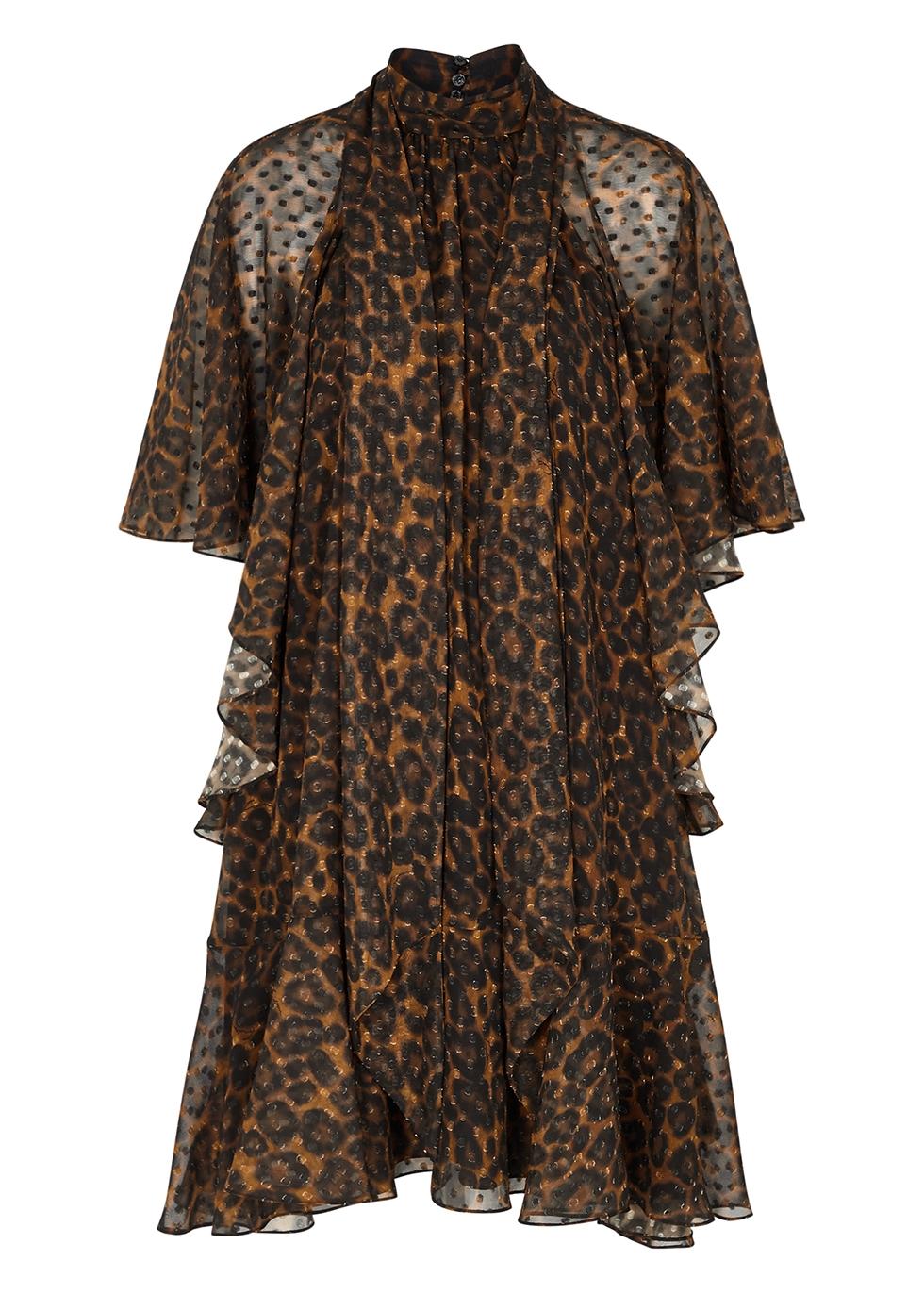 Elviretta leopard-print cape-effect dress