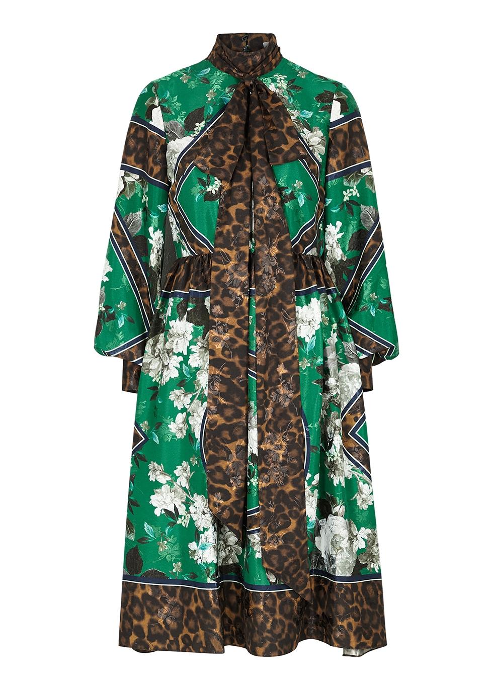 Medina printed matte satin dress
