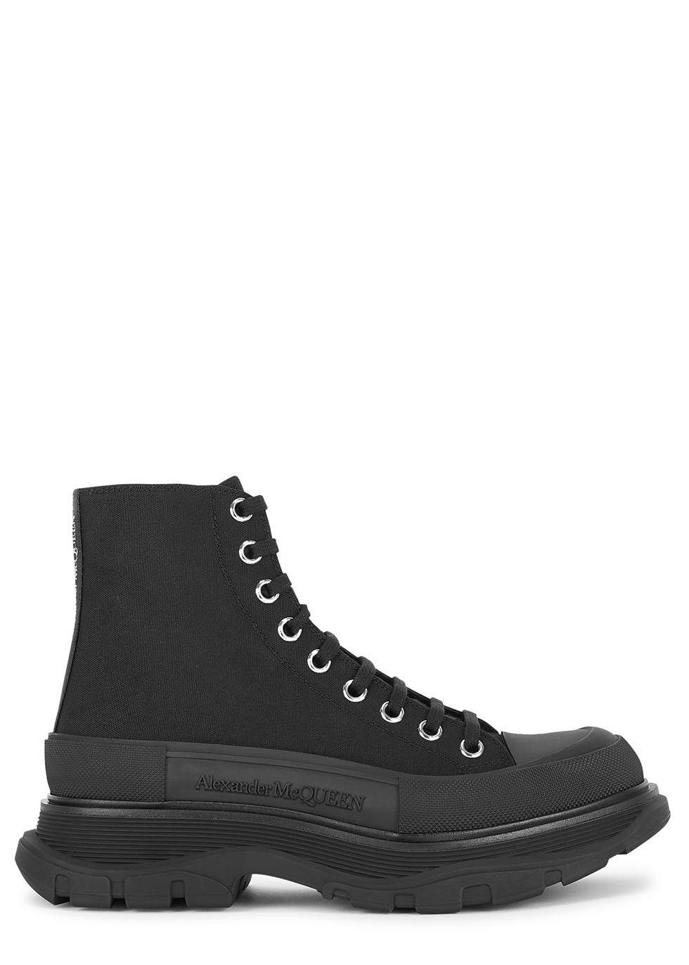 Tread black canvas hi-top sneakers