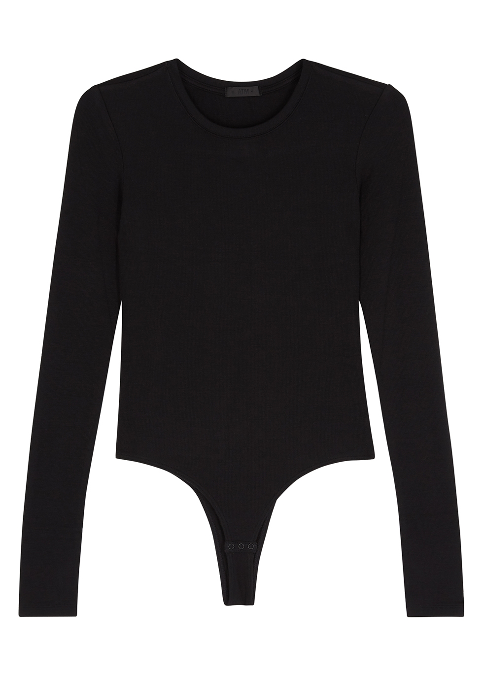 Black ribbed stretch-jersey bodysuit