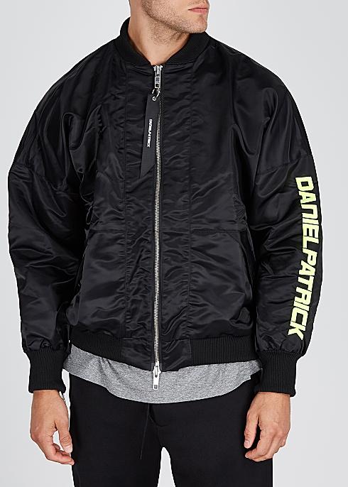 20cd953a4 Black logo-embroidered satin bomber jacket