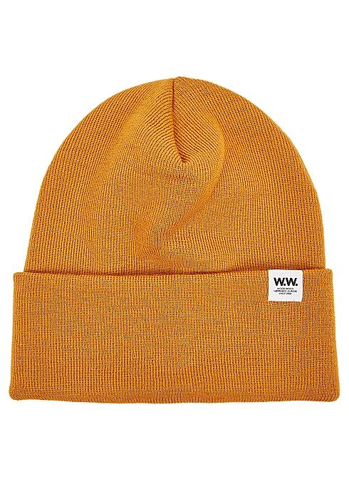 9bad77439 Gerald mustard fine-knit beanie
