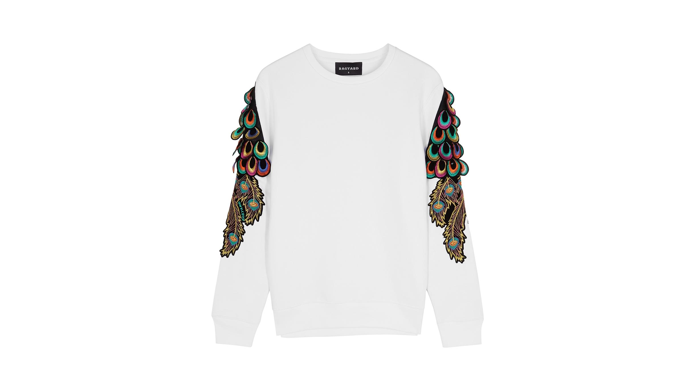 a6e82f9bcd62 Peacock feather-appliquéd jersey sweatshirt