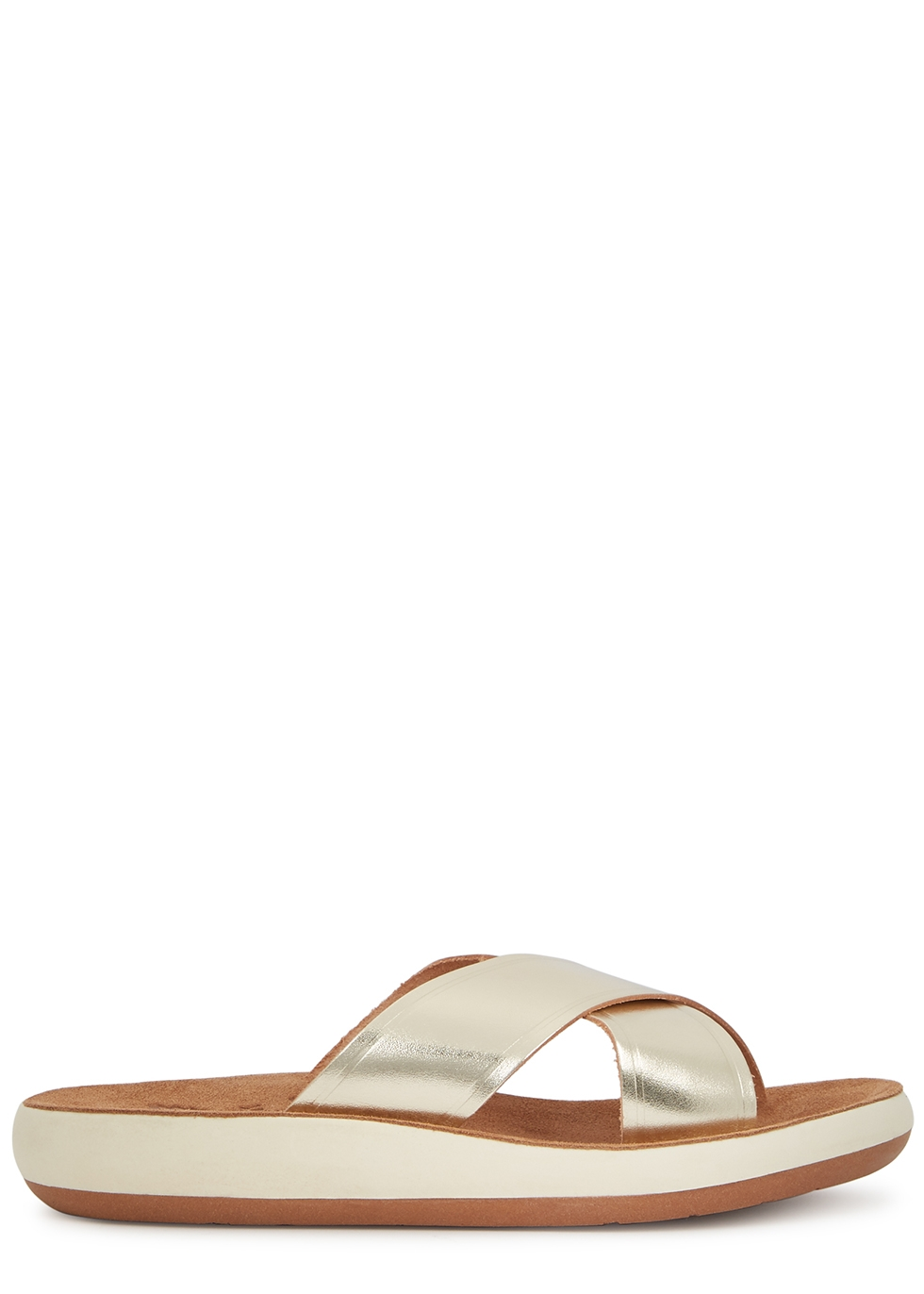 Thais gold leather sliders
