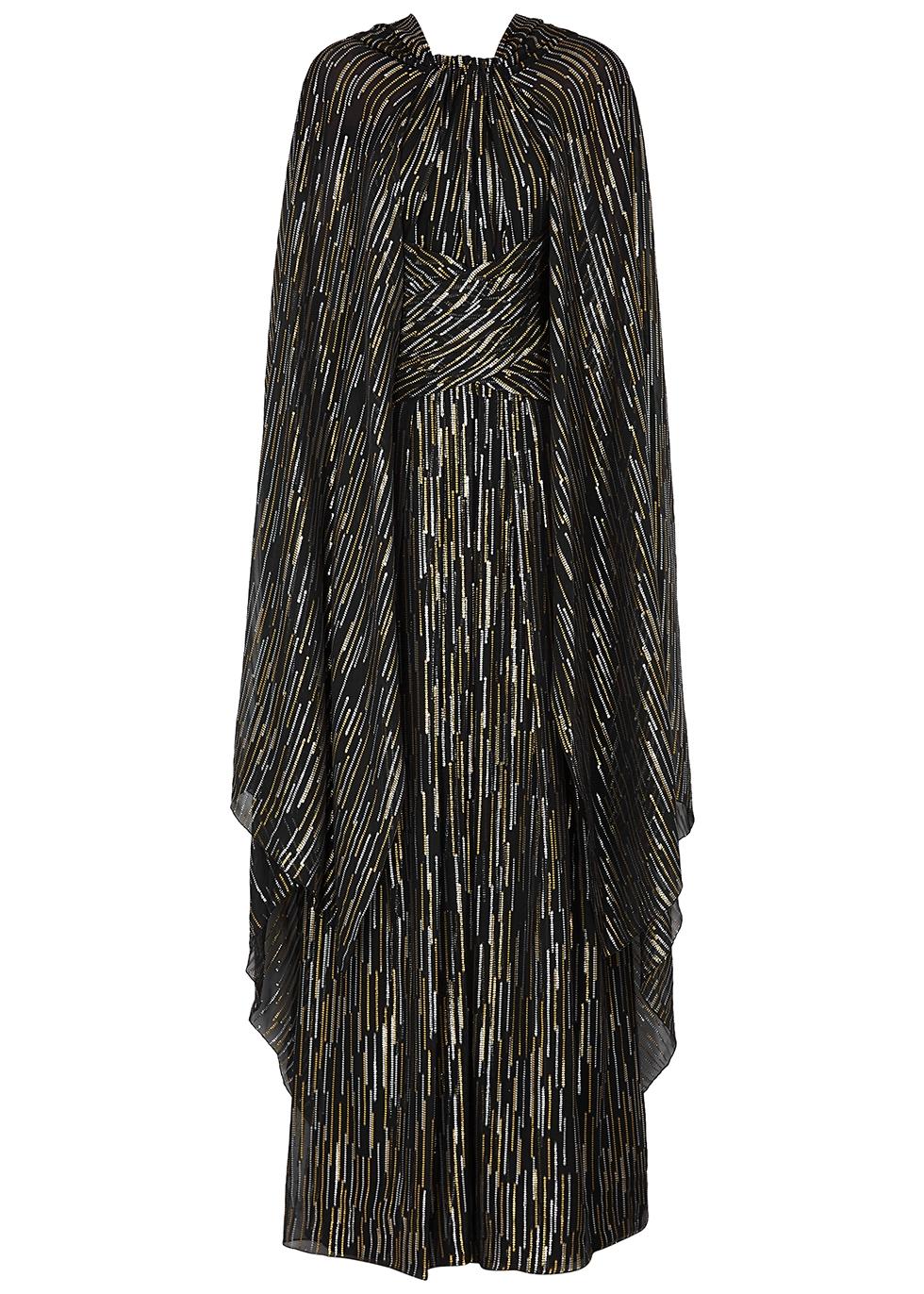 Black lamé-weave cape-effect gown