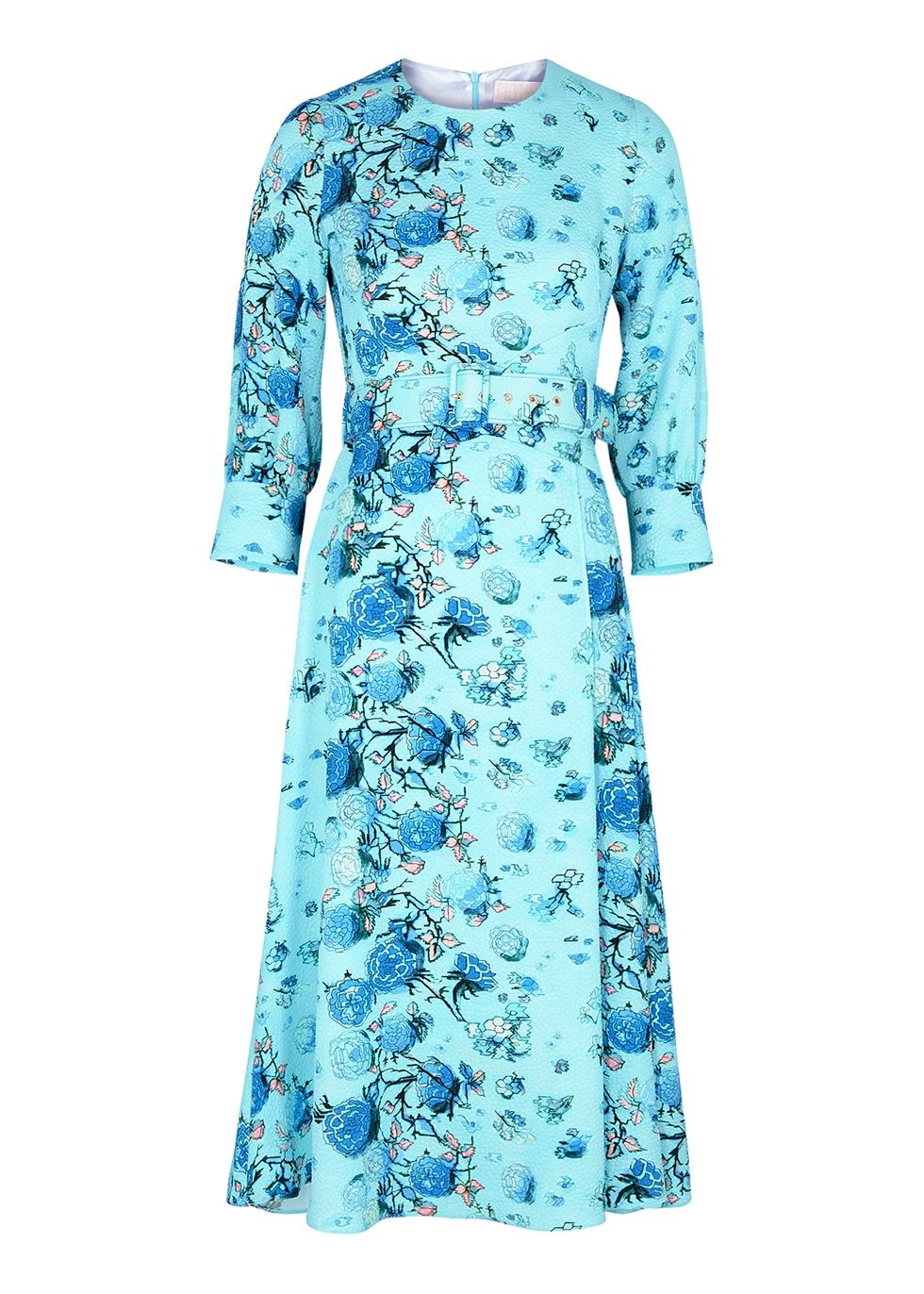 Floral-print belted jacquard midi dress