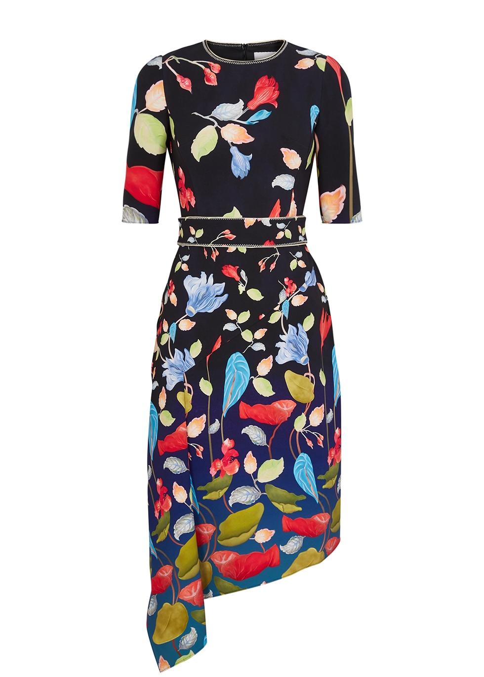Black floral-print midi dress