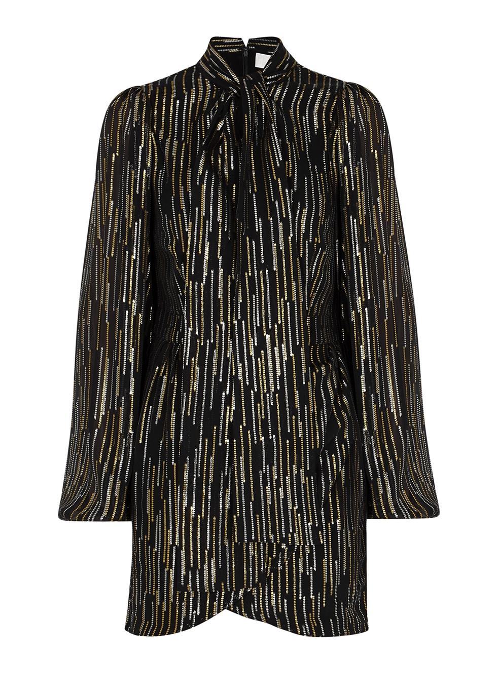 Black lamé-weave chiffon mini dress