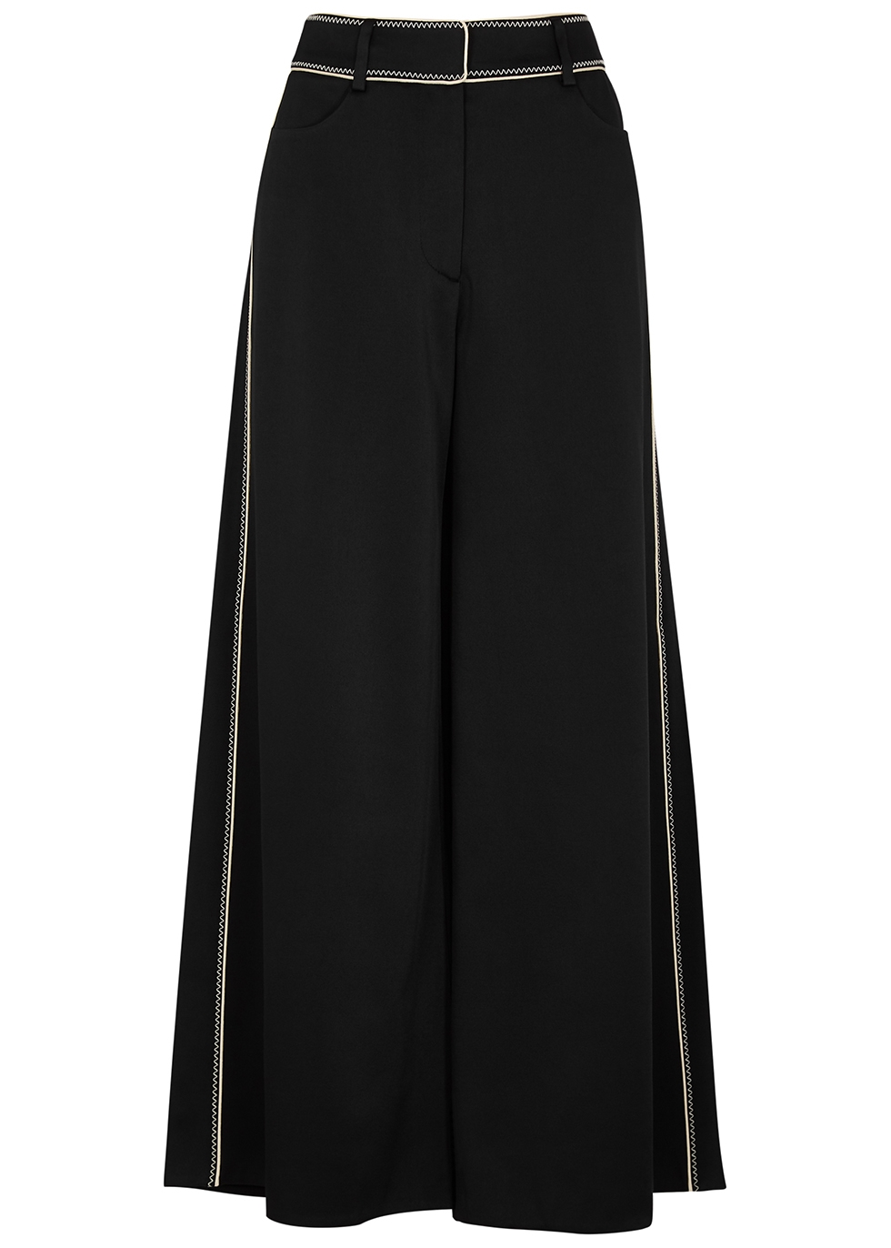 Black embroidered satin culottes