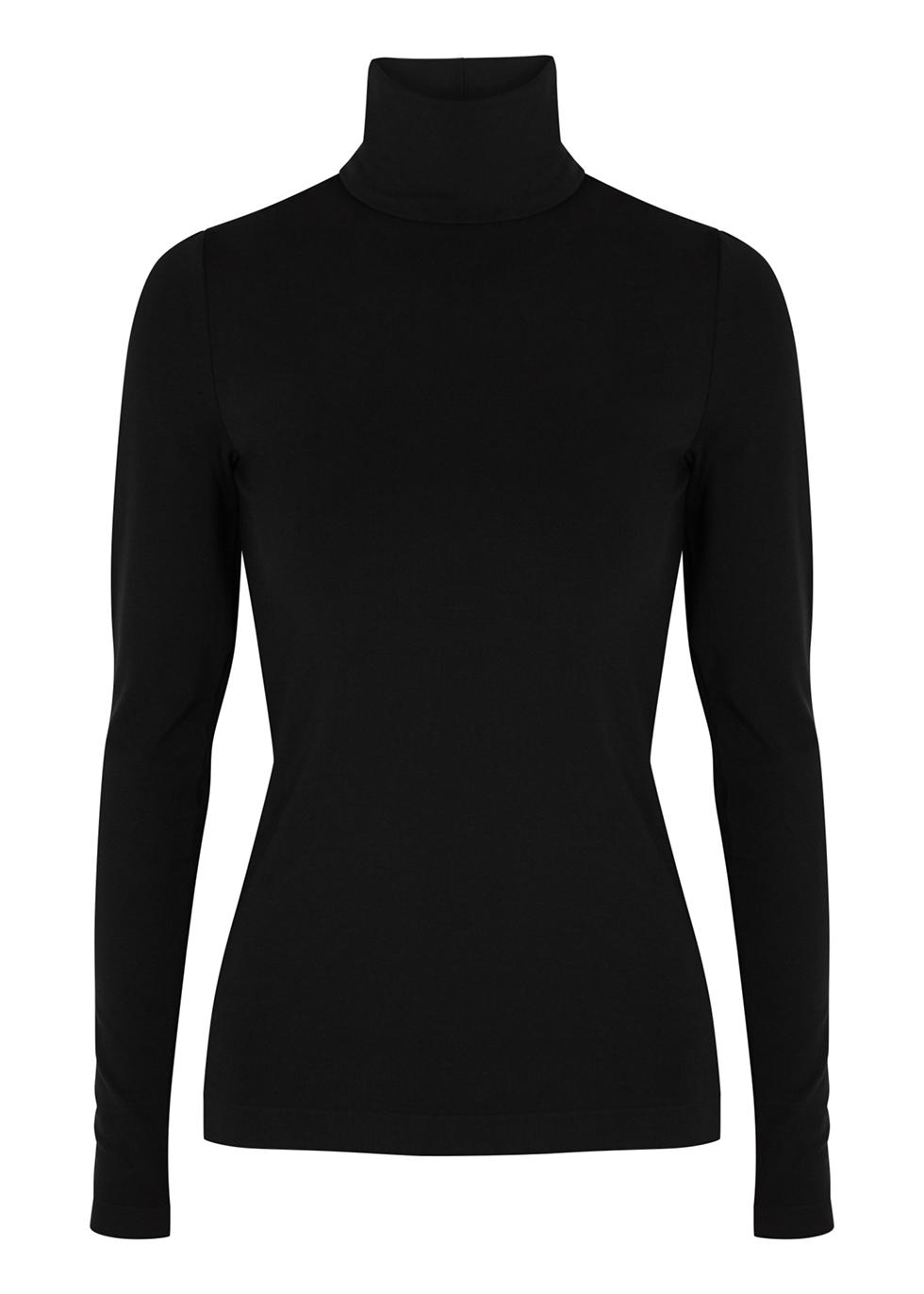 Aurora black roll-neck jersey top