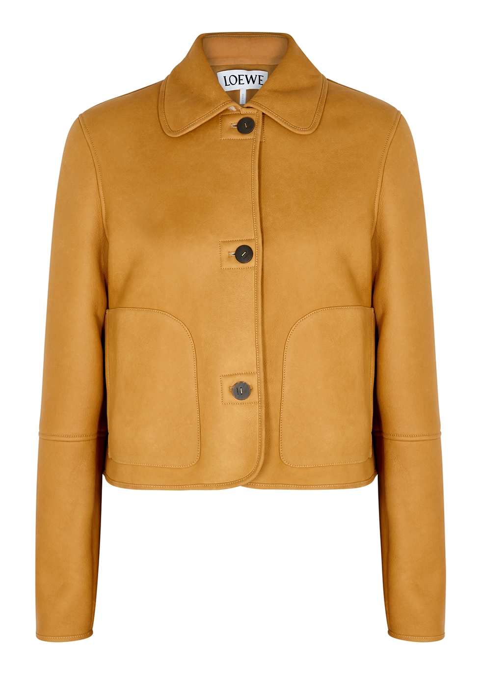 Camel shearling-lined leather jacket