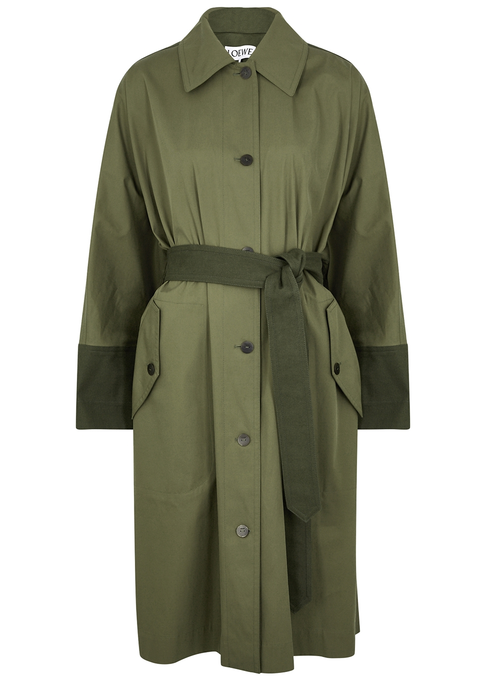 Army green panelled cotton trench coat