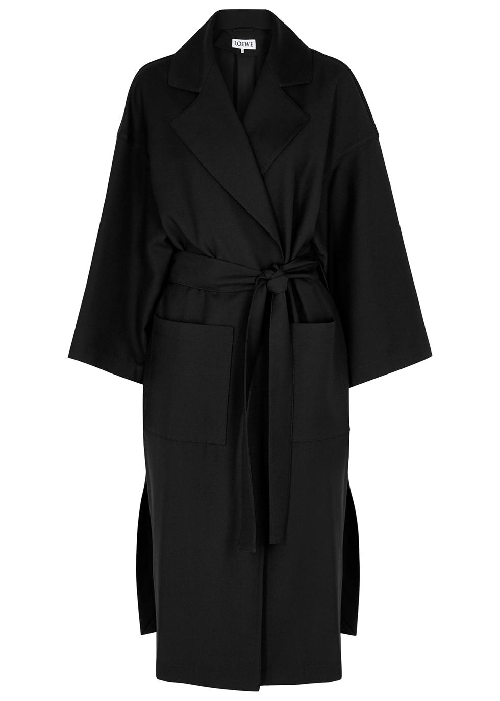 Black oversized wool-twill coat