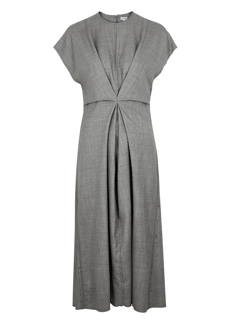 Grey gathered wool midi dress