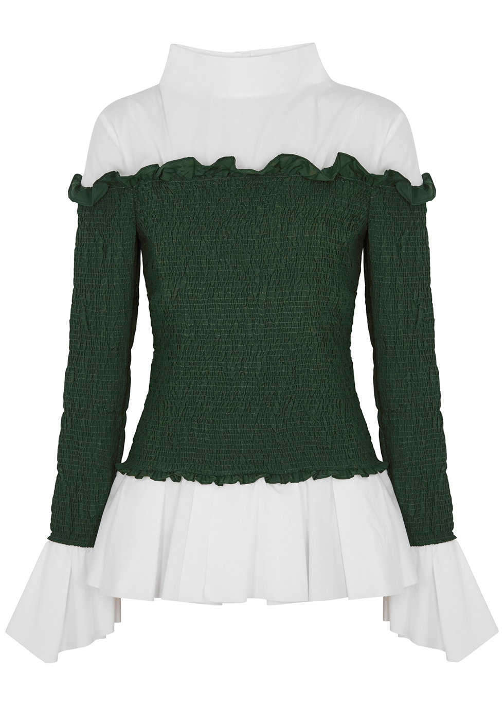 White and green smocked poplin shirt
