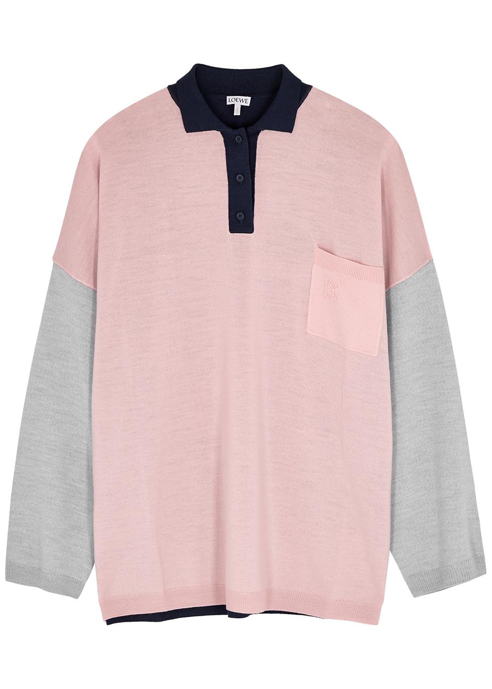 Colour-blocked wool jumper