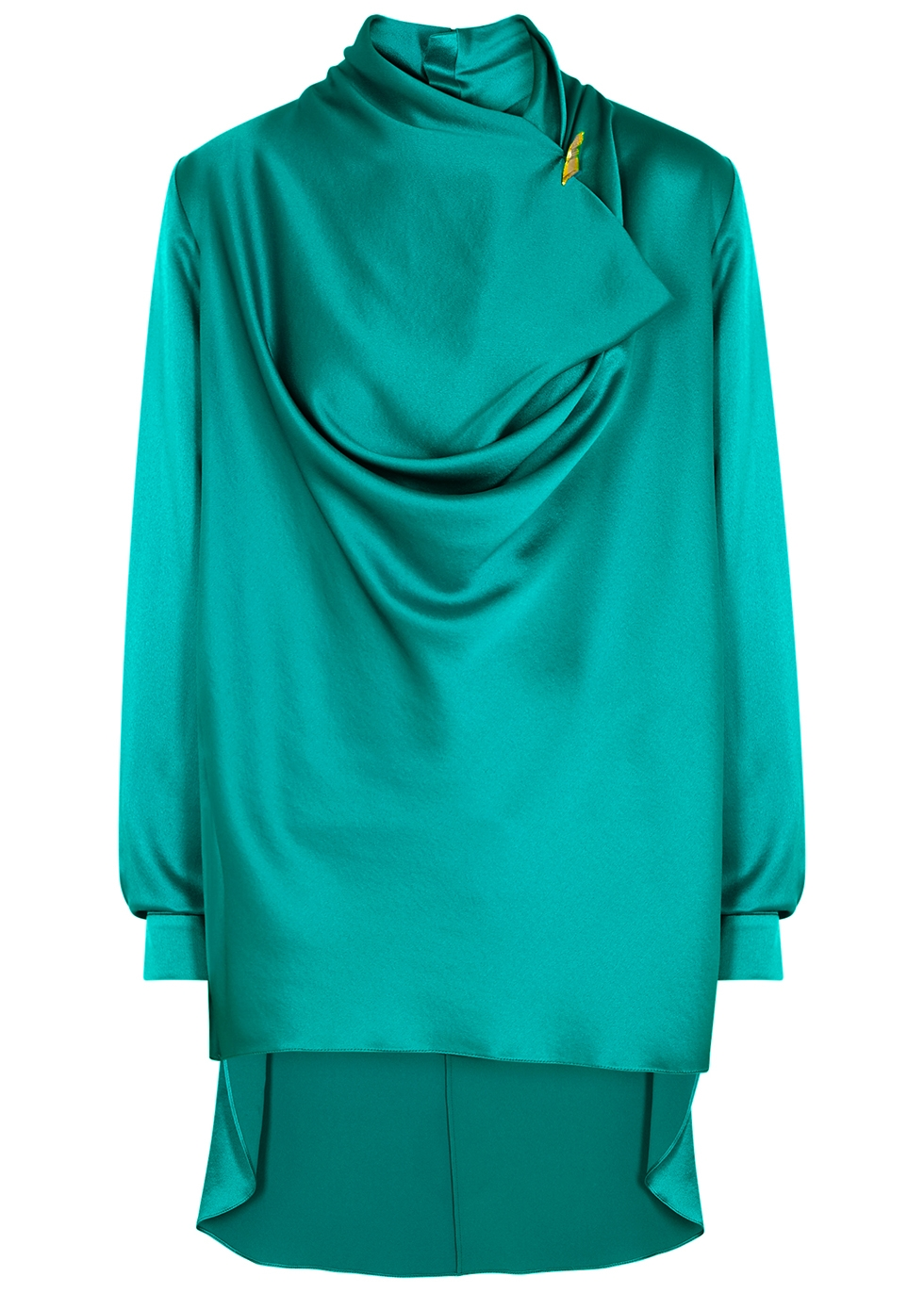 Limela teal draped silk blouse