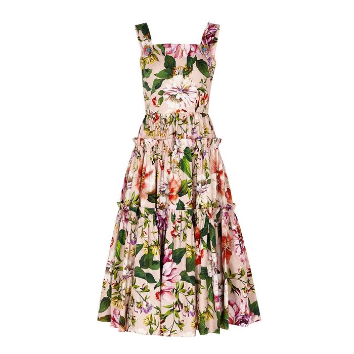 Dolce & Gabbana Floral-print Cotton-poplin Midi Dress In Pink