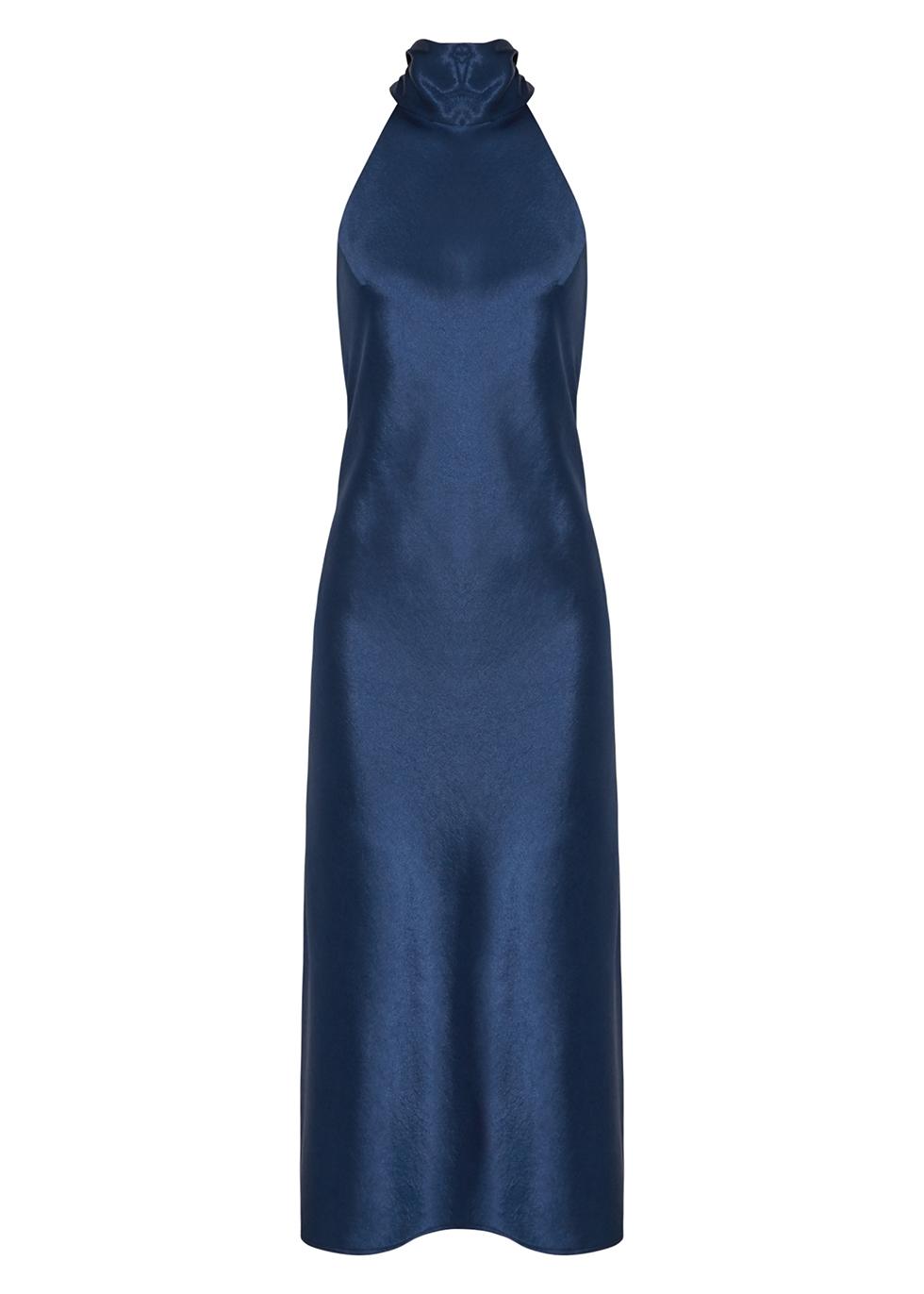 Sienna navy halterneck satin gown