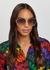 Gold-tone oval-frame sunglasses - Gucci
