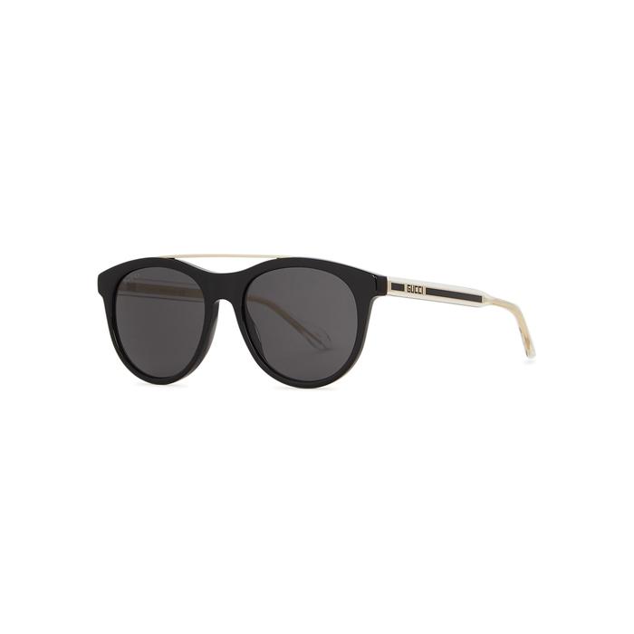 Gucci Black Aviator-style Sunglasses