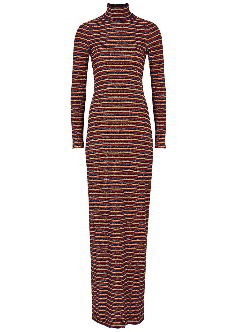 Striped metallic-weave gown