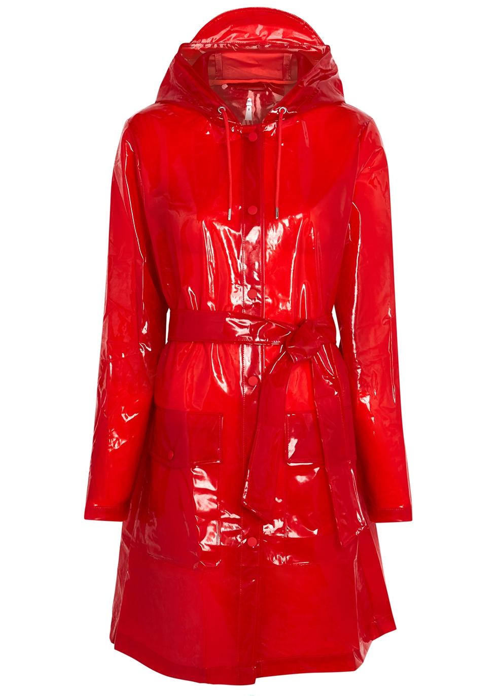 Red sheer rubberised raincoat